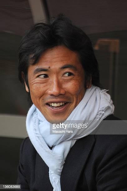 Toshiya Fujitathe president of JPFA looks on before the JPFA Xmas Charity Soccer between Tohoku Region XI and JPFA XI at Yurtec Stadium Sendai on...