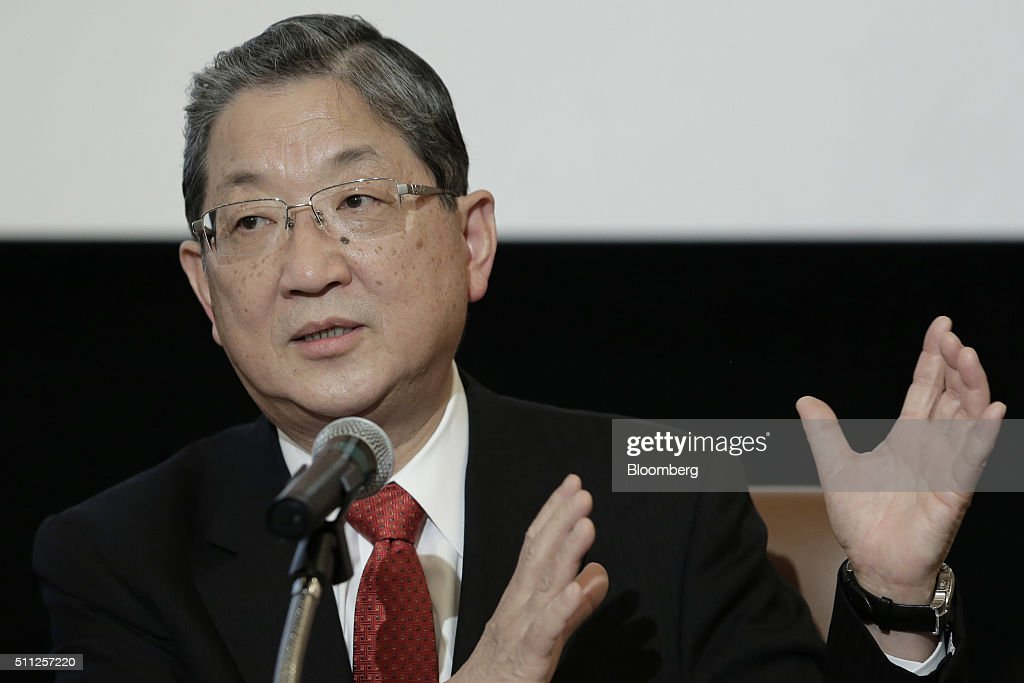 Toshiyuki Shiga chairman and chief executive officer of Innovation Network Corporation of Japan gestures as he speaks during a news conference at the...