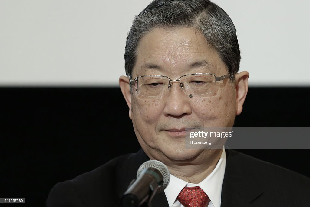 Toshiyuki Shiga chairman and chief executive officer of Innovation Network Corporation of Japan pauses during a news conference at the Japan National...