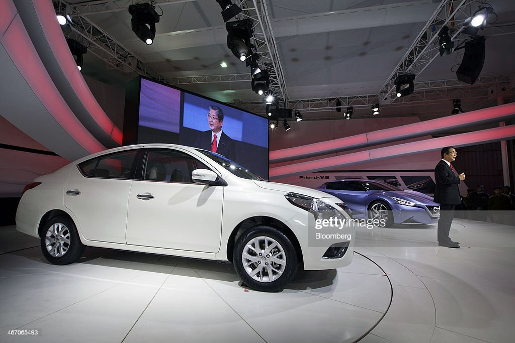 Toshiyuki Shiga vice chairman of Nissan Motor Co speaks at a news conference during a media preview at the 12th Auto Expo 2014 in Noida India on...