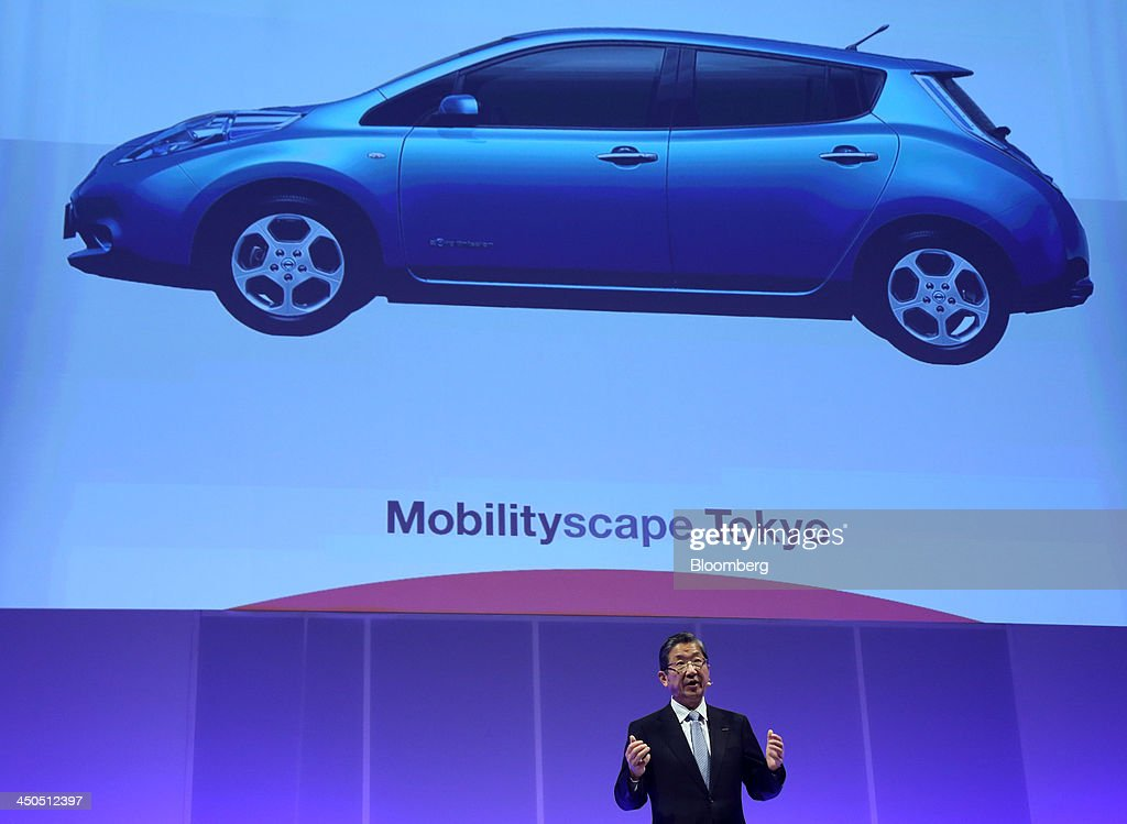Toshiyuki Shiga vice chairman of Nissan Motor Co speaks at the Mobilityscape Tokyo event held ahead of the 43rd Tokyo Motor Show in Tokyo Japan on...