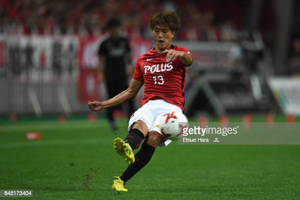 Toshiyuki Takagi of Urawa Red Diamonds in action during the JLeague J1 match between Urawa Red Diamonds and Kashiwa Reysol at Saitama Stadium on...