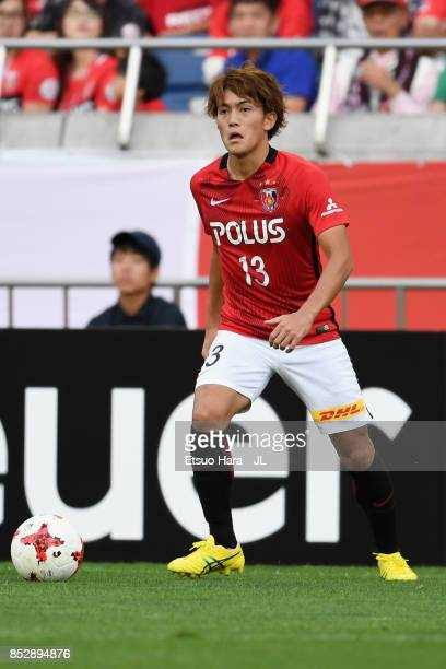Toshiyuki Takagi of Urawa Red Diamonds in action during the JLeague J1 match between Urawa Red Diamonds and Sagan Tosu at Saitama Stadium on...