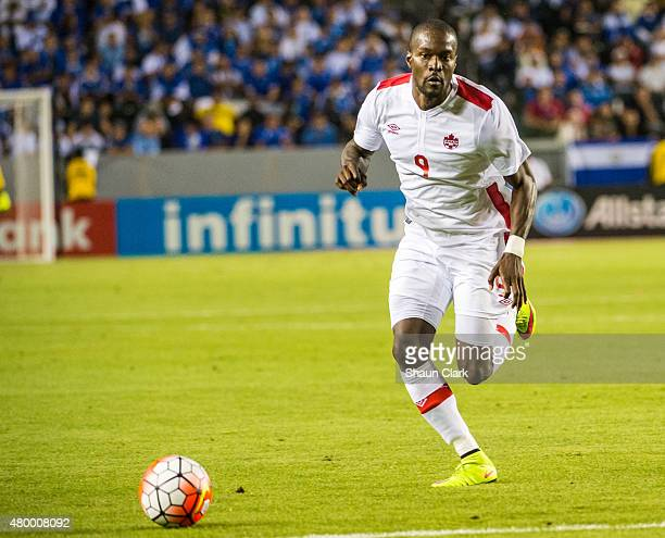 Tosiant Ricketts of Canada races in on goal during the 2015 CONCACAF Gold Cup Group B match between El Salvador and Canada at the StubHub Center on...