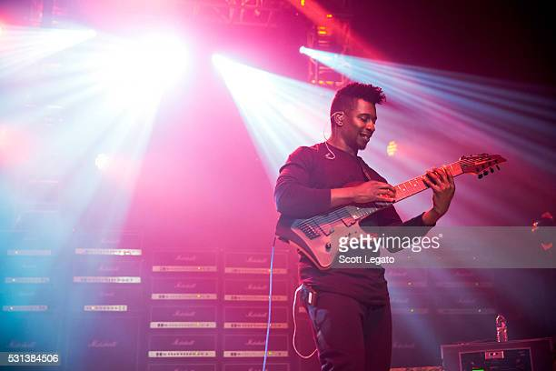 Tosin Abasi performs during the Generation Axe Tour at The Royal Oak Music Theater on May 2 2016 in Royal Oak Michigan