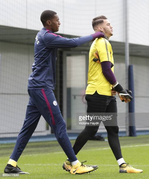 Tosin Adarabioyo and Ederson Moraes walking to training on September 29 2017 in Manchester England