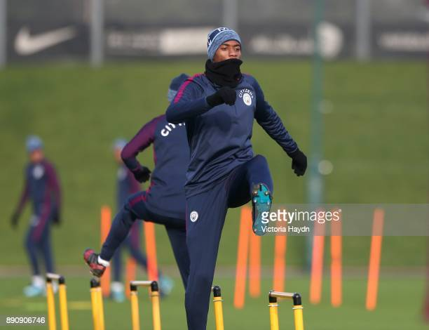 Tosin Adarabioyo in action during training at Manchester City Football Academy on December 12 2017 in Manchester England