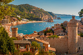 Aerial view of Fortress Vila Vella and Badia de Tossa bay at summer in Tossa de Mar on Costa Brava, Catalunya, Spain