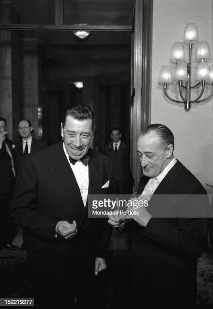 Totò and the French actor Fernand Joseph Désiré Contandin better known as Fernandel at the première of the film 'The Law Is the Law' directed by...