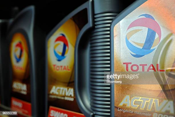 Total SA engine oil is seen for sale at a gas station in Paris France on Wednesday Feb 10 2010 The company releases its earnings this week...
