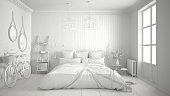 Total white project of scandinavian minimalist bedroom with big window and herringbone parquet, architecture interior design