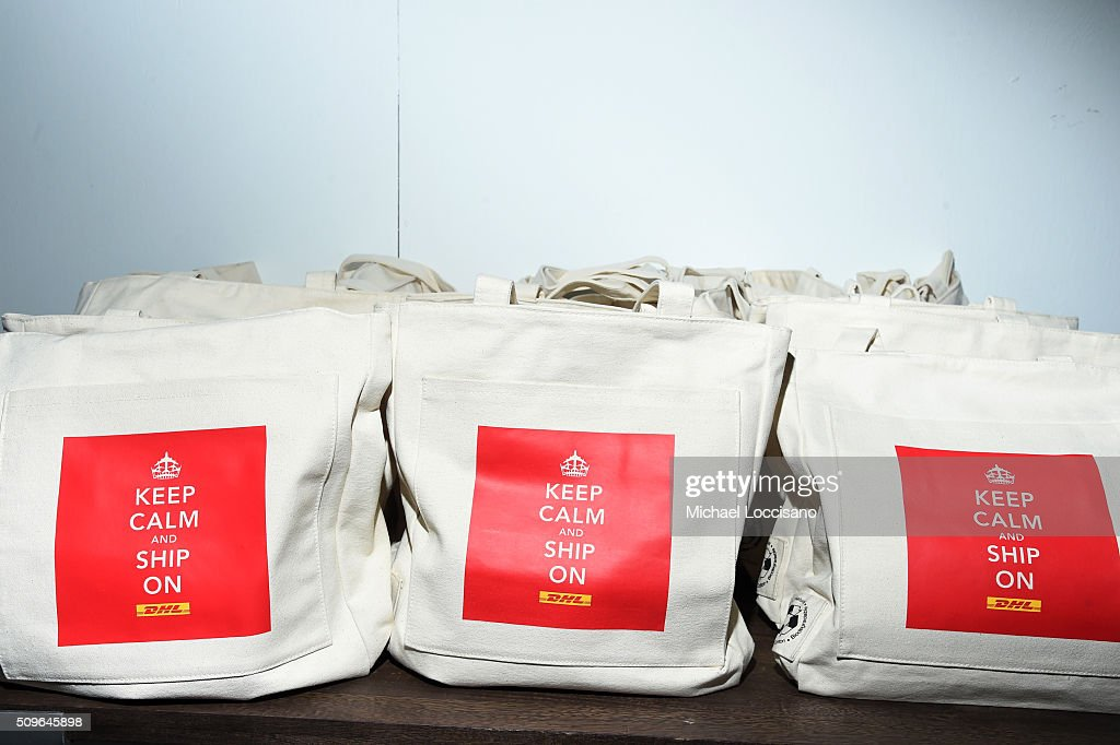 Totebag detail at DHL display at 2016 New York Fashion Week at the Skylight at Clarkson sq on February 11, 2016 in New York City.