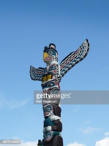 Totem pole and blue sky Vancouver Stanley Park