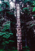 Totem pole belonging to the Yaadaas clan of the Haida The two figures at the top are called Village Watchmen and the main figures are the bear and...