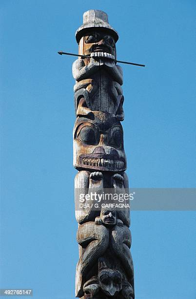 Totem pole of the Gitxsan people Ksan Historical Village and Museum British Columbia Canada Detail Hazelton Ksan Indian Village And Museum Box