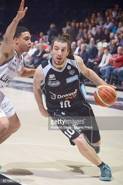 Toto Forray of Dolomiti Energia competes with Abdul Gaddy of Obiettivo Lavoro during the LegaBasket match between Virtus Obiettivo Lavoro Bologna v...