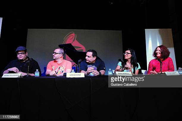 Toto Gonzalez Quique OllervidesCarlos Perez Maria Madrigal and Celeste Fraser Delgado attends the Latin Recording Academy Acoustic Sessions at The...