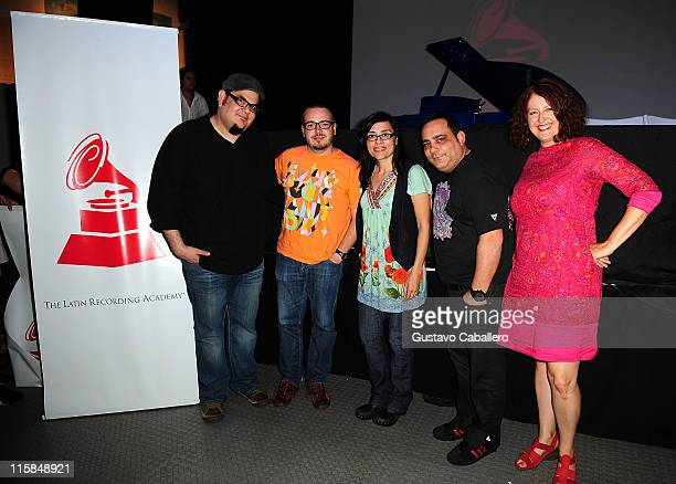 Toto GonzalezQuique OllervidesMaria MadrigalCarlos Perez and Celeste Fraser Delgado attends the Latin Recording Academy Acoustic Sessions at The...