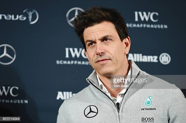 Toto Wolff Head of MercedesBenz Motorsport speaks to the press prior to the 2016 Laureus World Sports Awards at Messe Berlin on April 18 2016 in...