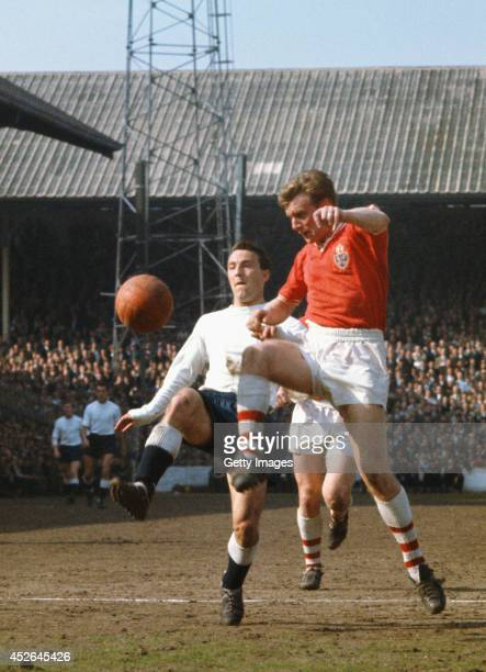 Tottenham and England striker Jimmy Greaves in action during a Spurs game circa September 1963