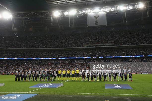 Tottenham and Monaco line up prior to the UEFA Champions League match between Tottenham Hotspur FC and AS Monaco FC at Wembley Stadium on September...