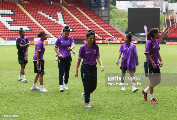 Tottenham arrive for the FA Women's Premier League Playoff Final between Tottenham Hotspur Ladies and Blackburn Rovers Ladies at The Valley on May 28...