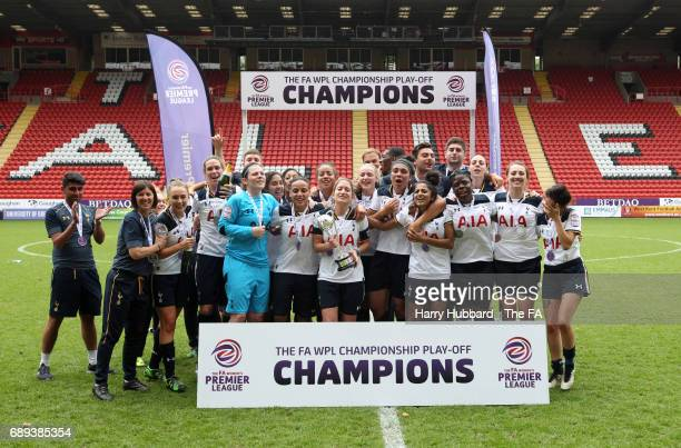 Tottenham celebrate after winning the FA Women's Premier League Playoff Final between Tottenham Hotspur Ladies and Blackburn Rovers Ladies at The...