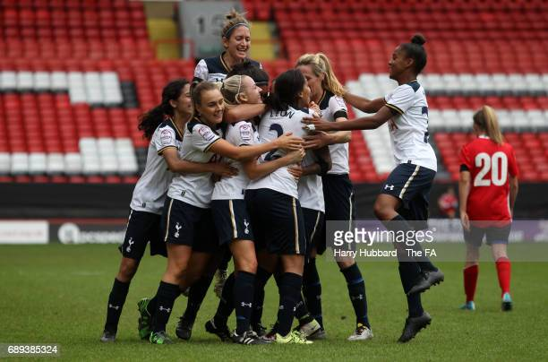 Tottenham celebrate their second goal during the FA Women's Premier League Playoff Final between Tottenham Hotspur Ladies and Blackburn Rovers Ladies...