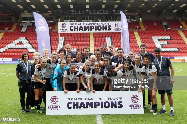 Tottenham celebrate winning the FA Women's Premier League Playoff Final between Tottenham Hotspur Ladies and Blackburn Rovers Ladies at The Valley on...