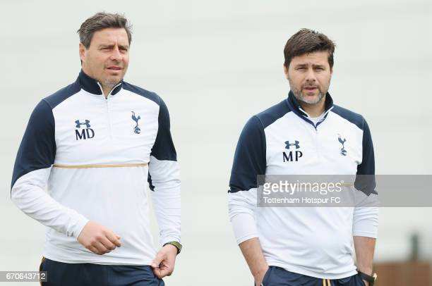 Tottenham first team coach Miguel D'Agostino and manager Mauricio Pochettino during a Tottenham Hotspur training session at Tottenham Hotspur...
