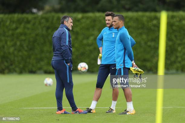 Tottenham goalkeeping coach Toni Jimenez talks to Hugo Lloris and Michel Vorm during the Tottenham Hotspur training session at Tottenham Hotspur...
