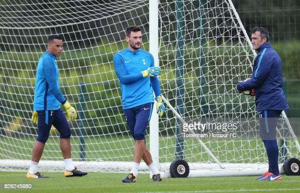 Tottenham goalkeeping coach Toni Jimenez with Hugo Lloris and Michel Vorm during the Tottenham Hotspur training session at Tottenham Hotspur Training...