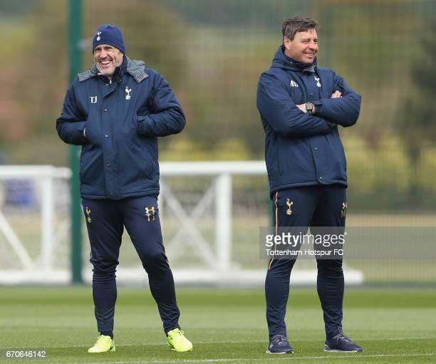 Tottenham goalkeeping coach Toni Jiménez and first team coach Miguel D'Agostino during the Tottenham Hotspur training session at Tottenham Hotspur...