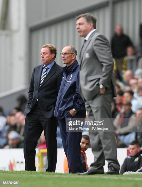 Tottenham Hotpsur manager Harry Redknapp assistant Joe Jordan and Blackburn Rovers manager Sam Allardyce watches the action from the touchline