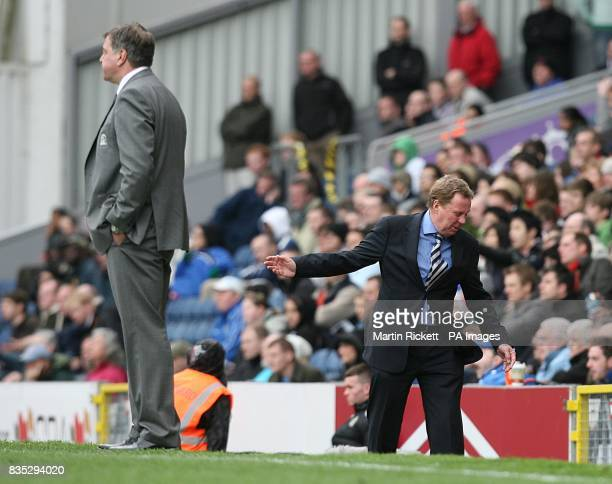 Tottenham Hotpsur manager Harry Redknapp reacts as Blackburn Rovers manager Sam Allardyce watches the action from the touchline