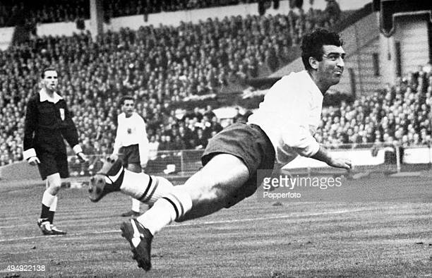 Tottenham Hotspur and England centreforward Bobby Smith in action on 23rd October 1963