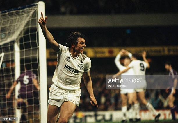 Tottenham Hotspur captain Graham Roberts celebrates after scoring against Anderlecht in the UEFA Cup Final 2nd leg at White Hart Lane 23rd May 1984...