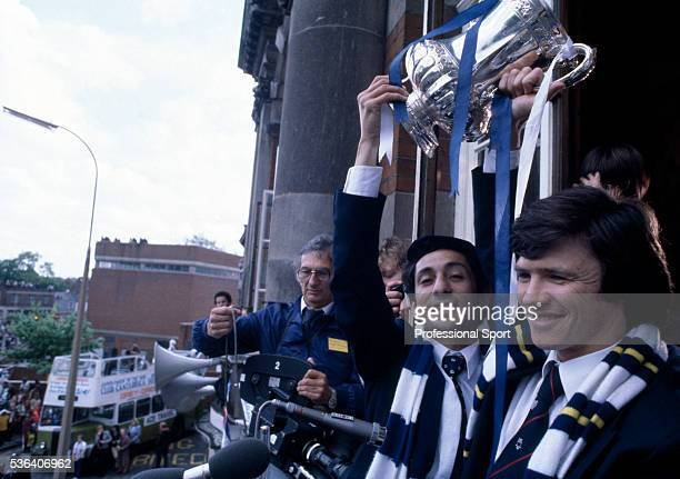 Tottenham Hotspur captain Steve Perryman and Osvaldo Ardiles holding the FA Cup on the balcony of Tottenham Town Hall during the Civic Reception...