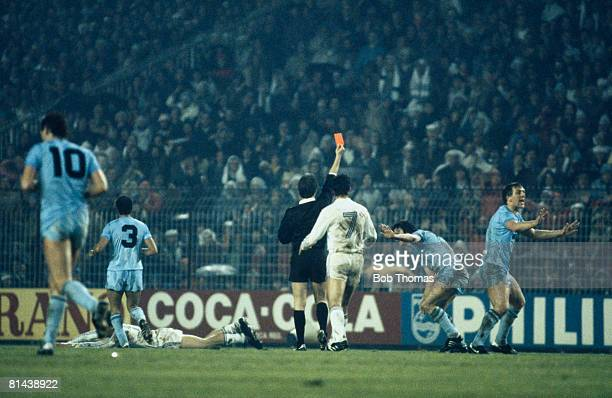 Tottenham Hotspur captain Steve Perryman is sentoff by referee Bruno Galler for a foul on Real Madrid striker Valdano during their UEFA Cup...