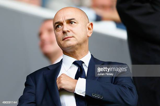 Tottenham Hotspur Chairman Daniel Levy looks on prior to the Barclays Premier League match between Tottenham Hotspur and Manchester City at White...