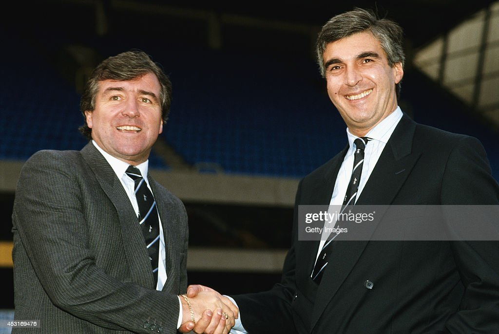 Tottenham Hotspur chairman Irving Scholar greets new manager <a gi-track='captionPersonalityLinkClicked' href=/galleries/search?phrase=Terry+Venables&family=editorial&specificpeople=240288 ng-click='$event.stopPropagation()'>Terry Venables</a> at White Hart Lane on November 23, 1987 in London, England.