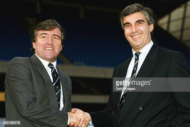 Tottenham Hotspur chairman Irving Scholar greets new manager Terry Venables at White Hart Lane on November 23 1987 in London England