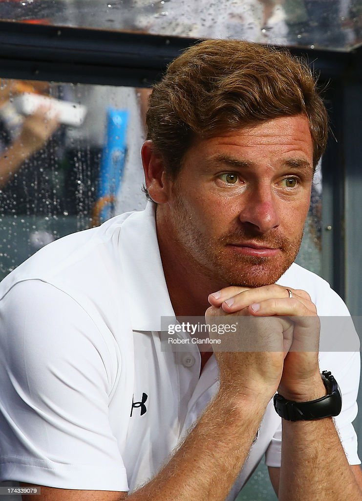 Tottenham Hotspur coach Andre Villas Boas looks on prior to the Barclays Asia Trophy Semi Final match between Tottenham Hotspur and Sunderland at...