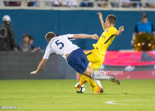 Tottenham Hotspur defender Jan Vertonghen defends the ball during the International Champions Cup match between Tottenham Hotspur and Paris St...