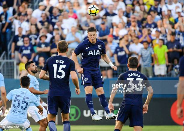 Tottenham Hotspur defender Kevin Wimmer headers the ball during the second half of a International Champions Cup match between Tottenham Hotspur and...