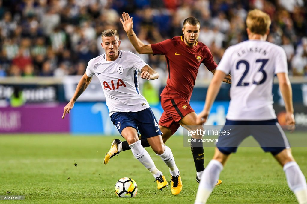 Tottenham Hotspur defender Toby Alderweireld (4) brings the ball up the field during the second half of the International Champions Cup between Tottenham Hotspur and Roma on July 25, 2017 at Red Bull Arena in Harrison, NJ.