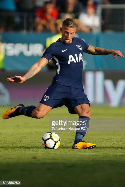 Tottenham Hotspur defender Toby Alderweireld in action against Manchester City during the International Champions Cup 2017 at Nissan Stadium on July...