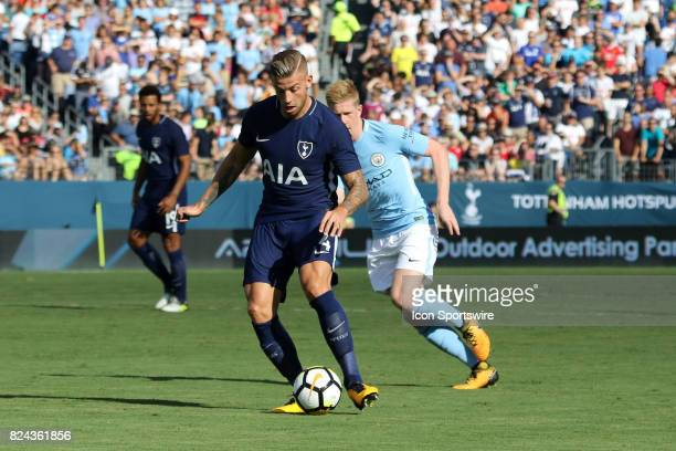Tottenham Hotspur defender Toby Alderweireld with the ball in the game between Manchester City and Tottenham Hotspur Manchesgter City leads Tottenham...