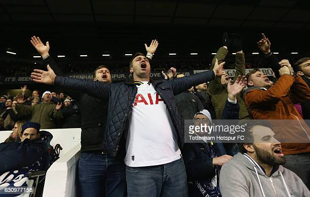 Tottenham Hotspur fan celebrates after the Premier League match between Tottenham Hotspur and Chelsea at White Hart Lane on January 4 2017 in London...