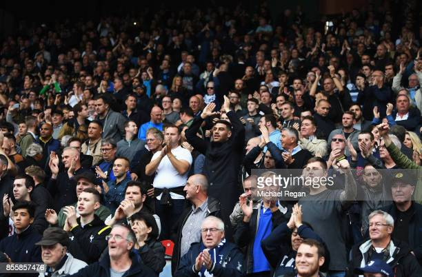 Tottenham Hotspur fan celebrates during the Premier League match between Huddersfield Town and Tottenham Hotspur at John Smith's Stadium on September...